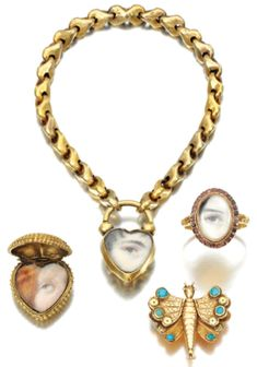 Antique lover's eye jewelry sold at Sotheby's.  http://www.imobsessedwiththis.com/2012/07/06/ill-be-watching-you-history-of-vintage-lovers-eye-jewelry/#