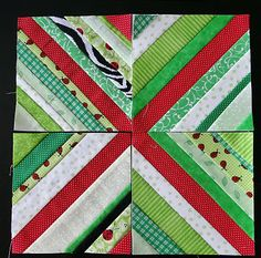 String quilt tutorial at a bright corner. She has a number a different layouts for similar blocks and a link to a tut