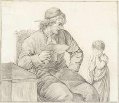 anoniem | Schoolmeester berispt een klein meisje, attributed to Pieter Pietersz. Barbiers, 1759 - 1842 | Schoolmeester, zittend bij een lessenaar, berispt een klein meisje, dat huilend voor hem staat.