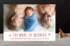 """The More, the Merrier"" - Modern Holiday Photo Cards in Snowflake by Carolyn MacLaren."