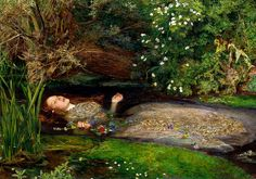 "Ophelia - John Everett Millais (1851–1852). ""... she chaunted snatches of old tunes, As one incapable of her own distress, Or like a creature native and indued Unto that element; but long it could not be Till that her garments, heavy with their drink, Pull'd the poor wretch from her melodious lay To muddy death."" -Hamlet"