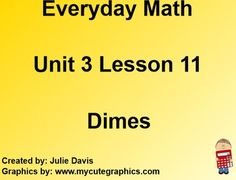 This is a SmartBoard activity that directly correlates with the 1st Grade Everyday Math 3.11 Dimes (introduce the coin dime, dollar and cents notation, and practice exchanging pennies, nickels, and dimes; money). This lesson includes activities, games, videos, and vocabulary for the lesson. Please feel free to contact me if you have any questions.