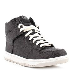 Sneakers never looked so good! Black glitter high-tops are great for pulling off the 'boyish' look with a feminine twist! #bettsshoes #betts #shoes #glitter #sneaker #Lipstickshoes
