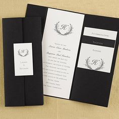 """Trifold Black Wedding Invitations Set the stage for your elegant wedding with this gorgeous tri-fold black pocket.  Dimensions: 4 1/8"""" x 9 1/2"""" Folded• Price Includes: Black pocket, printed invitation, printed tab, glue dots and blank envelopes. • Production Time: 2-3 Working Days • Customer Assembly Required"""