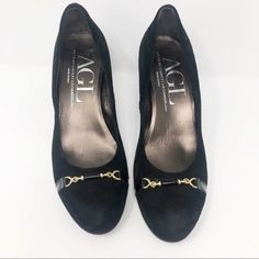e100986665f0 AGL Black Suede Cap Toe Heel 38  fashion  clothing  shoes  accessories   womensshoes  heels (ebay link)