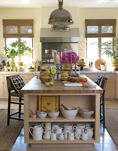 Country Kitchen -- like the shelves on the end of island and pendant lights over island