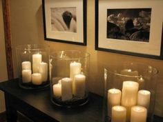 Hurricane with dollar store pillar candles and coffee beans - HGTV Dream Home Media Room Pictures on HGTV Decorating Tips, Decorating Your Home, Decorating Websites, Master Bedroom Decorating Ideas, Summer Decorating, Family Room Decorating, Foyer Decorating, Interior Decorating, Candle Store