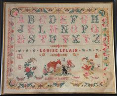 An Early 20th Century FRENCH Sampler Stitched By Louise Le Lain Aged 12 & Dated 1924