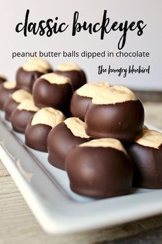 Classic Buckeyes recipe for peanut butter balls dipped in chocolate. Classic buckeyes recipe for peanut butter balls dipped in chocolate, a treat year round and especially on the holiday dessert table. Köstliche Desserts, Holiday Desserts, Holiday Baking, Christmas Baking, Holiday Recipes, Delicious Desserts, Dessert Recipes, Yummy Food, Christmas Candy