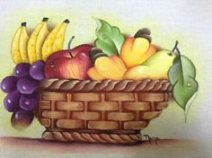 Fruit Painting, Fabric Painting, Fruit Basket Drawing, Drawing For Kids, Art For Kids, Colour Pencil Shading, Donna Dewberry Painting, Bird Stencil, Tole Painting Patterns