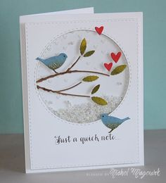 December 02, 2014 nichol magouirk: fun shaker card; Simon Says Stamp Songbird Branch Craft Die VIDEO