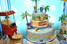 Incredible cake at a Despicable Me beach birthday party! See more party ideas at CatchMyParty.com!