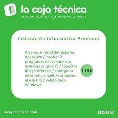 Instalación informática Premium. Arranque inicial del sistema operativo / instalar 2 programas del cliente con licencias originales / conectar dos periféricos / configurar internet y emails / formación al usuario / Válido para Windows. http://olympiacanarias.com/lacajatecnica/servicios/