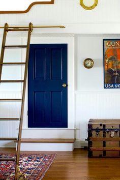 Interior door painted Navy blue