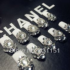 Aliexpress.com : Buy Custom Made high quality Rhinestone french false nail tips from Reliable the nails suppliers on Sisi Nail $32.00