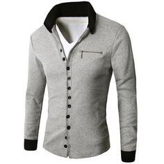 16.68$  Buy now - http://di85m.justgood.pw/go.php?t=193273506 - Zipper Embellished Turn-Down Collar Single Breasted Cardigan