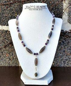 Labradorite necklace- Amethyst necklace - agate necklace- Gemstone necklaces- grey and purple necklace-gemstone necklace- amethyst jewelry