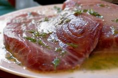 Spicy Tuna Steak Recipe - I did option It didn't end up being very spicy, so I'll need to add something. Steak Dinner Recipes, Tuna Steak Recipes, Fish Recipes, Seafood Recipes, Cooking Recipes, Healthy Recipes, Cooking Tuna, Tuna Marinade, Grilled Tuna Steaks