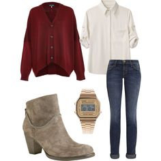 red cardigan, white button-down, ankle boots outfit