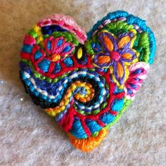 Small Freeform embroidery Heart brooch for sale in my Etsy shop :)