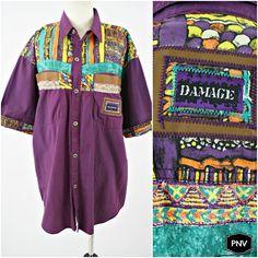 vintage 90s purple MAJOR DAMAGE colorblock faux LEATHER trim shirt by PasseNouveauVintage, $36.00