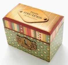 There's a lot to love about decoupage and collage projects. This collection features decoupage furniture, decoupage wood boxes, and so much more! Mod Podge Crafts, Aunt Gifts, Altered Boxes, Diy Box, Recipe Box, Recipe Holder, Diy Recipe, Keepsake Boxes, Wooden Boxes