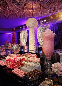 Who doesn't love a candy station? Inspired by shades of pink and silver, we covered all the bases. From cotton candy and macarons to cake pops and chocolates, this candy bar is pure, sweet elegance! Candy Bar Wedding, Wedding Desserts, Wedding Decorations, Wedding Dessert Tables, Sweet Table Wedding, Candy Bar Party, Quince Decorations, Sweet Tables, Unique Wedding Reception Ideas