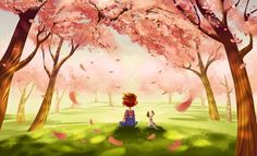 Boy and dog under cherry blossom trees cartoon illustration via www.Facebook/GleamofDreams.com