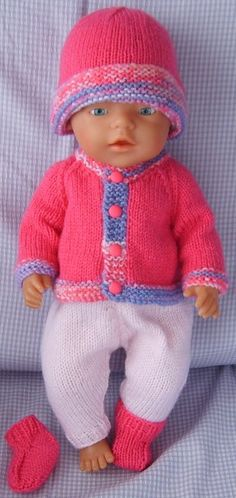 Shades of Pink. Knitting Dolls Clothes, Knitted Dolls, Doll Clothes Patterns, Doll Patterns, Clothing Patterns, Baby Knitting Patterns, Baby Patterns, Free Knitting, Girl Dolls