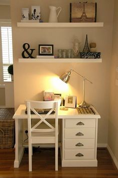 Home Office Space In Bedroom Simple. Small And Cozy Workspace At Balcony Home Design And Interior. 31 Simple But Smart Bedroom Storage Ideas Interior God. Home and Family Small Space Office, Home Office Space, Small Desks, Small Rooms, Bedroom Small, Trendy Bedroom, Girls Bedroom, Office Spaces, Master Bedroom