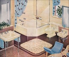1947 American Standard Cream & Baby Blue Bath by American Vintage Home, via Flickr