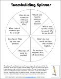 Teambuilding Spinner - Great way for students in cooperative learning teams to get to know each other at the beginning of the year!
