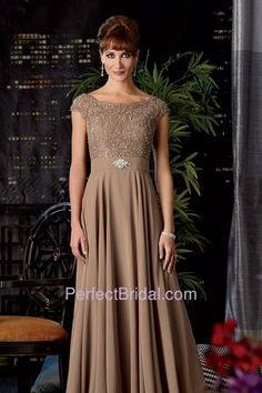 Jordan Fashions Mother Dress 7010 | Beaded lace off shoulder bodice with full chiffon skirt. Rhinestone accented...