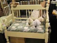 Full Circle Creations: Twin headboard bench...I love it with the custom cushion!