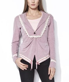 Look what I found on #zulily! Pink Lace Accent Abuela Jacket by Mamatayoe #zulilyfinds
