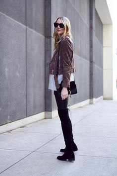 Fall Outfit, Brown Suede Moto Jacket, Grey Sweater, Stuart Weitzman Lowland Black Boots, Chloe Faye Handbag