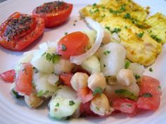 Potato and Chickpea Salad from Food.com:   We ate this at our local Indian restaurant recently. I decided to make it myself and we reckoned it was better as our ingedients were fresher! It was very rustic, so I wouldn't stress about how anything was cut..