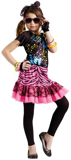 80s style images | 80s Pop Party Costume for Kids | Girls 80s Dress Halloween Costume