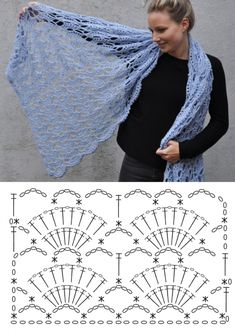 Crochet Scarf Diagram, Crochet Stitches Chart, Crochet Square Patterns, Crochet Designs, Knitting Patterns, Crochet Shawls And Wraps, Crochet Scarves, Crochet Crafts, Crochet Lace