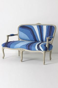 Louisa Settee by Vera We. Traditional French furniture upholstered with a watercolor-inspired swirls of linen and cotton.