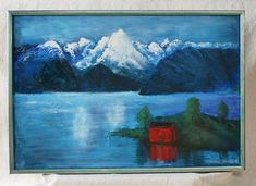 Norwegian Fjord Landscape Hand Painted Oil Original Artwork Oil Painting with frame Handcrafted in Norway Fri Shipping Vintage Table Linens, Norwegian Rosemaling, Old Forge, Quiet Moments, Norway, Folk Art, Original Artwork, Scandinavian, Hand Painted