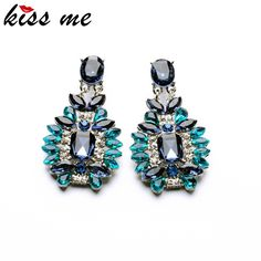 KISS ME Statement Trendy Jewelry Elegant Shiny Resin Stone Blue Plant Stud Earrings Factory Wholesale *** Click the image to find out more