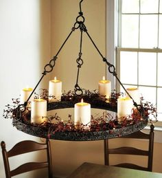 2016 New Year Rustic Hanging Indoor Candle Chandelier - Metal Candle Holder, DIY House Lanterns