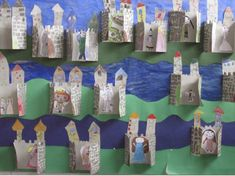castle - folded for displaying classwork Castillo Feudal, Knights And Castles Topic, Preschool Crafts, Crafts For Kids, Castle Classroom, Projects For Kids, Art Projects, Chateau Moyen Age, Castle Crafts