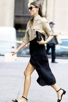 giorgia tordini. Classic neutrals. Tan button down with black skirt.