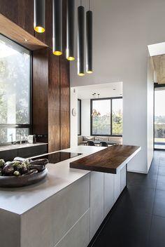 Ideas For Dark Wood Kitchen Design Counter Tops Granite Kitchen, Kitchen Tiles, Kitchen Decor, Kitchen Wood, Modern Kitchen Counters, Kitchen Floors, Kitchen Industrial, Concrete Kitchen, Stone Kitchen