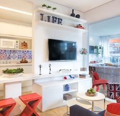 Cozinha, sala e varanda integradas