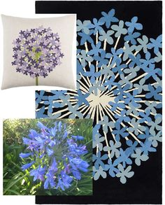 emma at home AGAPANTHUS rug (carbon) and pillow (periwinkle)