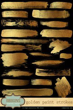 Golden Paint Strokes High Resolution PNG by OriginsDigitalCurio