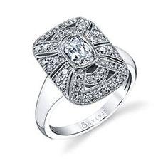 Romantic Vintage Cushion Diamond Engagement Ring